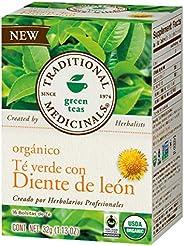 Traditional Medicinals Te Verde Orgánico con Diente de León, Agradablemente tostado y ligeramente tánico., 32