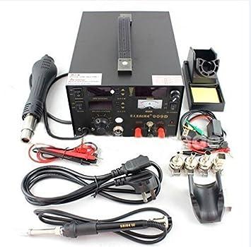 ... 3 en 1 estación de retrabajo con pistola de aire caliente, SMD estación de soldadura de reparación de soldadura de hierro 220 V: Amazon.es: Electrónica