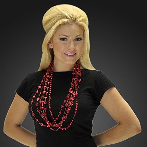 (FlashingBlinkyLights Red Heart Mardi Gras Bead Necklaces (Set of)