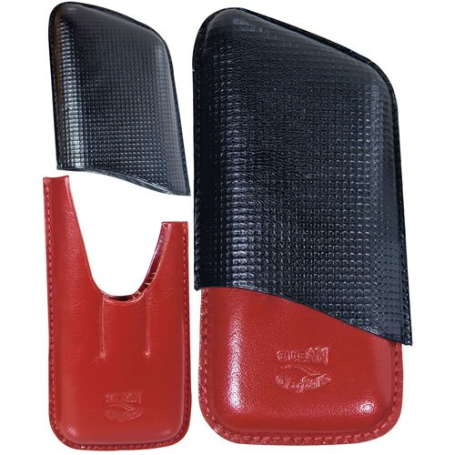 3 Finger cigar leather case - Black and Red - genuine Italian - Leather Italian Cigar Cases