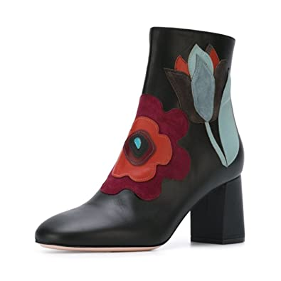 5dbcf6fa9c511 FSJ Women Fabulous Round Toe Ankle Boots Chunky Heels Floral Sewed  Comfortable Shoes Size 4 Black