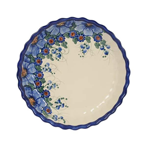 Traditional Polish Pottery, Round Pie or Casserole Baking Dish 10in / 25cm, Boleslawiec Style Pattern, O.201.Passion
