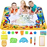 Large AquaDoodle Drawing Mat for Kids-Fly Water Painting Writing Doodle Board Toy Color Aqua Magic Mat Bring Magic Pens Educational Travel Toys Gift for Boys Girls Toddlers Age 3 4 5 6 (White, Large)