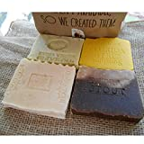 Four Bar Soap Variety Pack Soaps Goat Milk Coffee Citrus Butter Milk Lavender- Oatmeal