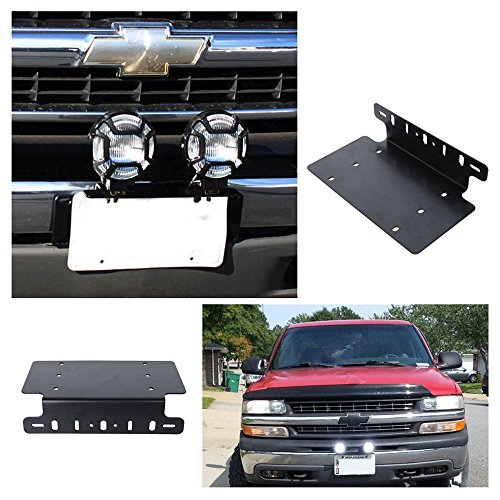 AUXMART License Plate Mounting Bracket Front Bumper License Plate Bracket (for America Version) Fit Most Trucks, Pickups, SUV, Jeep, 4x4, Cars
