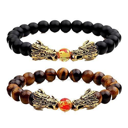 Jlbuay Men's Double gold Head Dragon Pendants Bracelet black brown (2pcs), Prayer Beads beaded bracelet - Head Dragon Bracelet