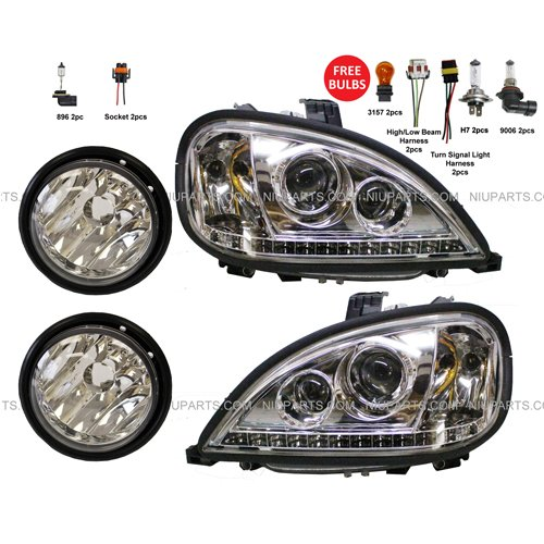 Headlight with LED and Fog Lamp - Driver & Passenger Side (Fit: Freightliner Columbia)