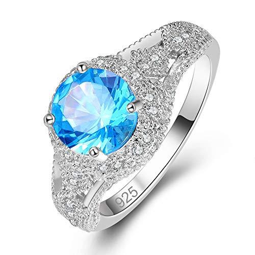 Mavonne 925 Sterling Silver Created Sapphire Quartz Cubic Zirconia Statement Ring for Men Women Solitaire Size - Solitaire Baguette Shape