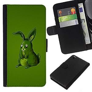 KLONGSHOP // Tirón de la caja Cartera de cuero con ranuras para tarjetas - Divertido Lol Conejo Verde - HTC DESIRE 816 //