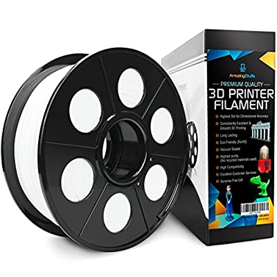 #1 Best 3D Printer Extruder PLA White Filament For Perfect Print|100 Printing Ideas|Top Dimensional Accuracy +/-0.02mm| Flexible Plastic Material, 1Kg Spool, 1.75mm (WHITE-PLA)