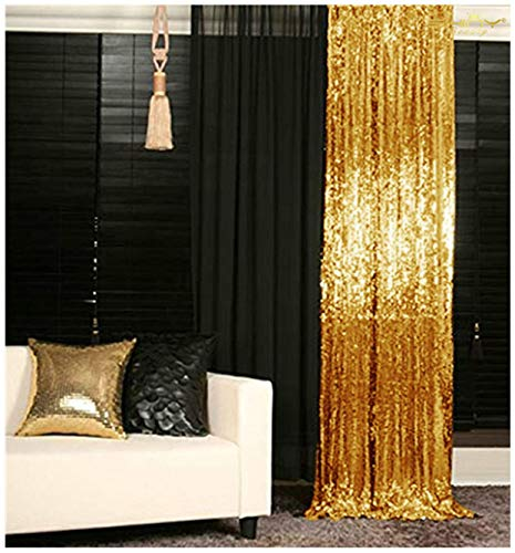 ShinyBeauty Backdrop for Pictures 2FTx7FT-2Pack Sequin Curtain Backdrop 2 Panels Gold Shimmer Backdrop~N10.26 (2 Gold Panels Curtains)