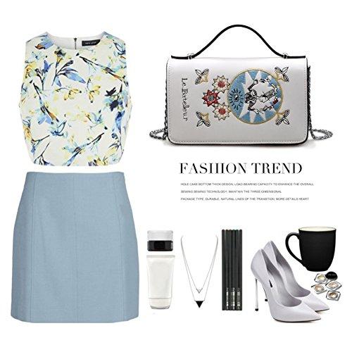 Yoome Alley Style Flap Bolsa Elegante Emroidery Tiny Zigzag plegable bolsos de la cadena de maquillaje - Blanco Blanco