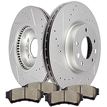 Amazon Com Scitoo Brake Kits 2pcs Front Slotted Drilled
