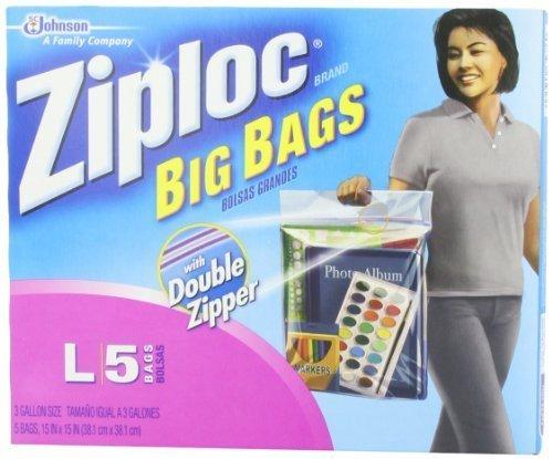 Ziploc Big Bag Double Zipper, Large, 5-Count by Ziploc