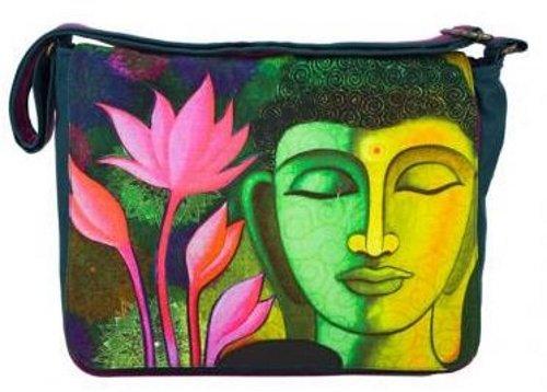 Messenger–Borsa a tracolla con Budda + Lotus in petrolio 36x 30x 12cm di jalan Jalan