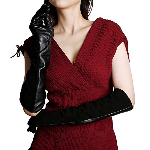 (KEGE Women's Elbow Long Opera Evening Dressing Nappa Genuine Suede Leather Gloves with Texting Touchscreen)