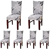 Dining Room Chair Sets ColorBird Plant Series Spandex Dining Chair Slipcovers Removable Universal Stretch Chair Protective Covers for Dining Room, Hotel, Banquet, Ceremony (Set of 6, Grey Leaf)