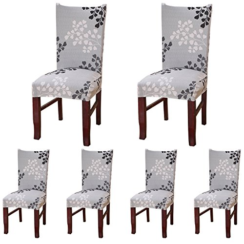 Protective Chair Covers (ColorBird Plant Series Spandex Dining Chair Slipcovers Removable Universal Stretch Chair Protective Covers for Dining Room, Hotel, Banquet, Ceremony (Set of 6, Grey Leaf))