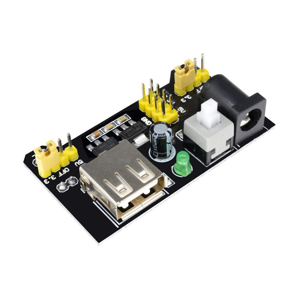 Aideepen 5pcs 3.3V//5V MB102 Breadboard Power Supply Module for Arduino Solderless USB Bread Board Voltage Regulator