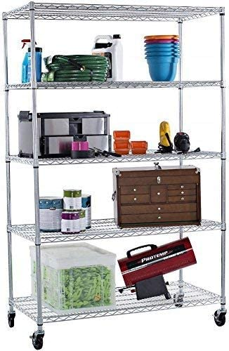 Trinity 5 Tier Nsf Ecostorage Shelving Rack With Wheels 48 By 24 By 72 Inch Chrome Home Kitchen