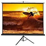 ZENY 100'' Projection Screen Manual Pull up Projector with Stand Diagonal 100 inch HD 4:3,Fortable Stand and Tripod,Suitable for HDTV/Sports/Movies/Presentations