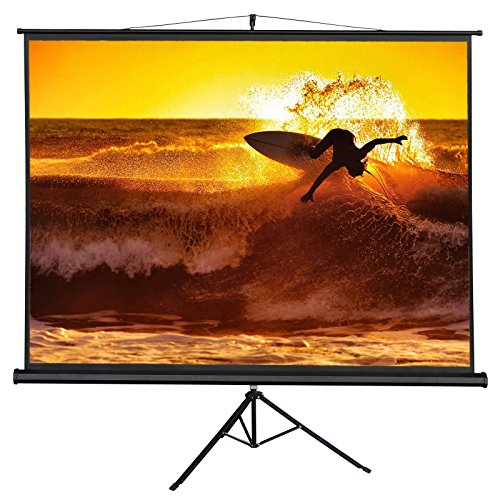 ZENY 100'' Projection Screen Manual Pull up Projector with Stand Diagonal 100 inch HD 4:3,Fortable Stand and Tripod,Suitable for HDTV/Sports/Movies/Presentations by ZENY