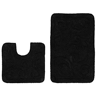 Cotton Craft - 2 Piece Bath Rug Set - Large Scroll - Black - 100% Pure Cotton - with Spray Latex Back- High Quality - Super Soft and Plush - Classic Scroll Design - All Hand Made - Hand Tufted Heavy Weight Durable Construction - Larger Rug is 21x32 Oblong and Second rug is Contour 21x20 - Easy care machine wash