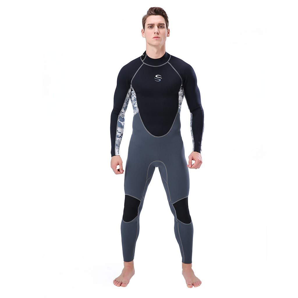 WoCoo Men's Full Body Wetsuits Neoprene Back Zip Sport Dive Skins, Long Sleeve One Piece for Surfing Snorkeling Canoeing(White,Large) by WoCoo