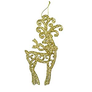 3pcs Golden Glitter Reindeer Shape Christmas Hanging Ornaments Party Decorating Supplies 14 x9cm