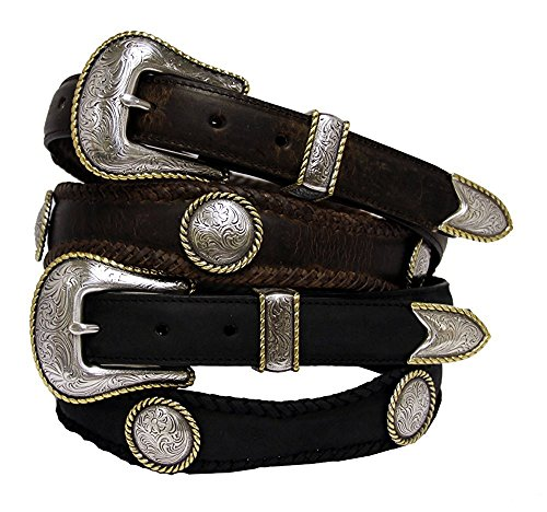 Hagora Men's Laced Gilded Rope Edged Ornate Conchos 3 Piece Buckle Leather Belt,Brown - Leather Piece Belt 3 Concho