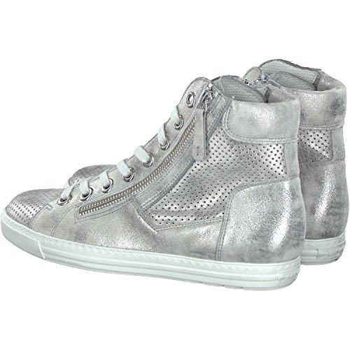 Paul Green 4247-092 Sneaker Da Donna In Suola Sportiva In Pelle Nabuk Rivestita In Argento