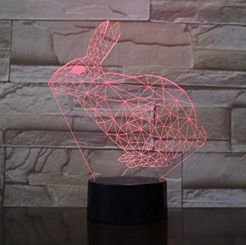 7 farbige 3D-Nachtlicht-LED Cute Animal Rabbit Night Light with Touch Control Kids Sleeping Toy