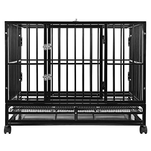 "SmithBuilt 48"" Extra Large Heavy-Duty Dog Crate Cage - XL Two-Door Indoor Outdoor Pet & Animal Kennel with Tray - Black from SmithBuilt"
