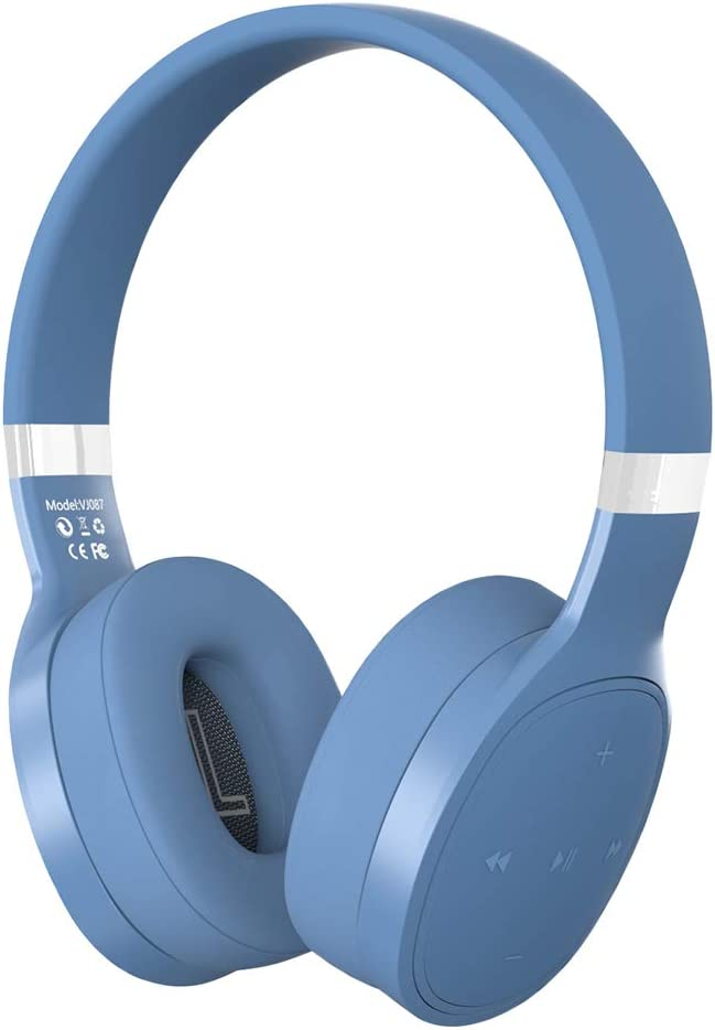 #N/A Bluetooth Wireless Headphones With Built-in Mic, Hifi Deep Bass, White Blue