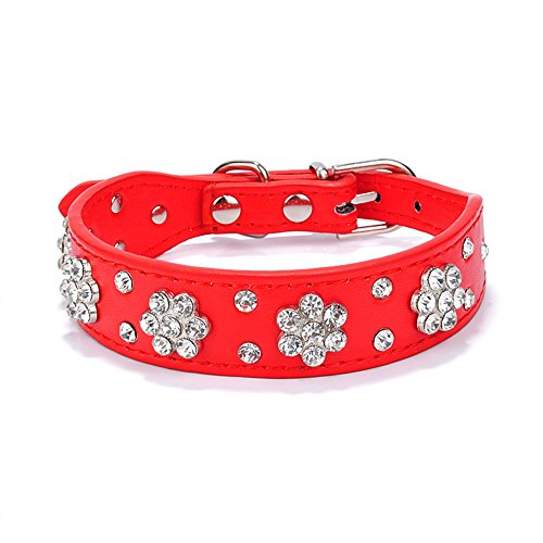 Gimilife Leather Dog Collar, Personalized Dog Cat Collar, Bling Collar, PU Leather Collar Black,Red,Pink and Blue, Male and Female, Five Adjustable Sizes,Small or Medium Dogs(Red, S)
