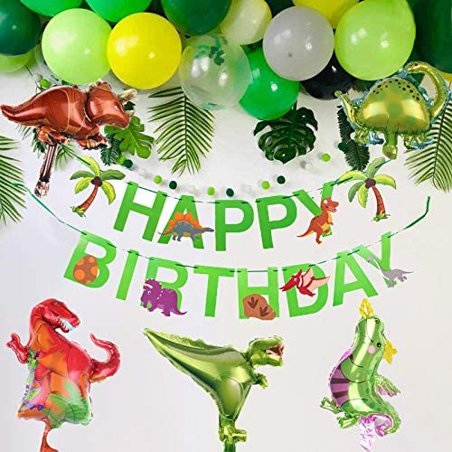 MAKFORT Kindergeburtstag Deko Dinosaurier Happy Birthday Girlande und Folienballons Dinosaurier mit Konfetti Luftballons Gr/ün f/ür Kindergarten Dekoration Urwald Party Geburtstag Junge