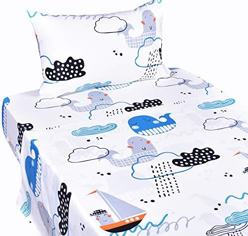 J-pinno Sea Storm Whale Dizzy Twin Sheet Set for Kids Boy Children,100% Cotton, Flat Sheet + Fitted Sheet + Pillowcase Bedding Set