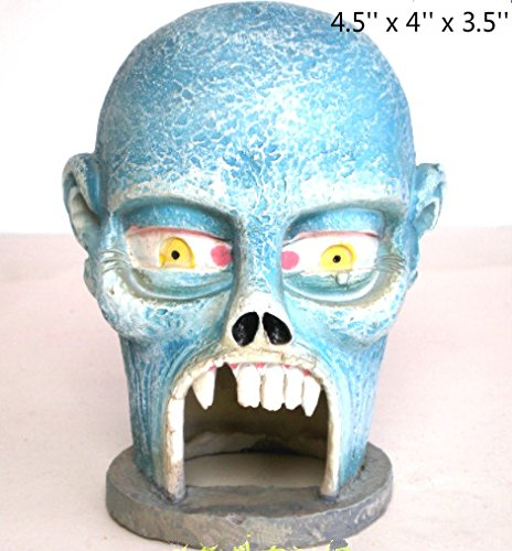 Kimoo Resin Halloween Skull Statue Sculpture Skeleton Aquarium Bookshelf Sandy Psychotherapy Ornament Fish Tank Decoration Reptile Fish Hiding Cave