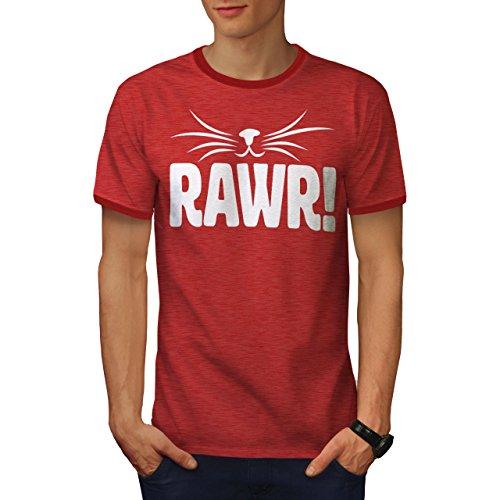 (wellcoda Rawr Kitten Cat Funny Mens Ringer T-Shirt, Cat Graphic Print TeeHeather Red/Red 2XL)