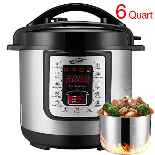 Housmile 6 Quart 7-in-1 Multi-Use Programmable Electric Pressure Cooker, Digital Non Stick Stainless Steel Steam Slow Cooker, 1000W