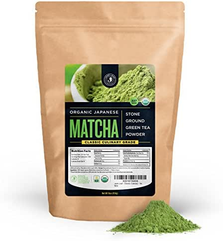 Jade Leaf Matcha Green Tea Powder - USDA Organic, Authentic Japanese Origin - Classic Culinary Grade (Smoothies, Lattes, Baking, Recipes) - Antioxidants, Energy [1lb Bulk Size]