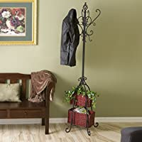 Quarrision Black Hall Tree with Rattan Storage