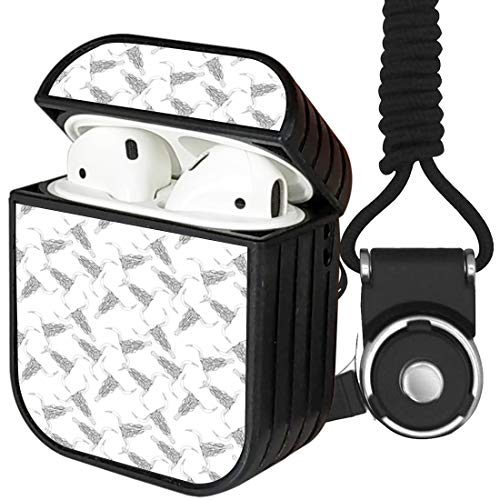 [ Compatible with Apple Airpods 1 / Airpods 2 Charging Case ] Portable Protection Hard Case Cover Shell + Neck Lanyard Strap (Ethnic Cowl Skulls)
