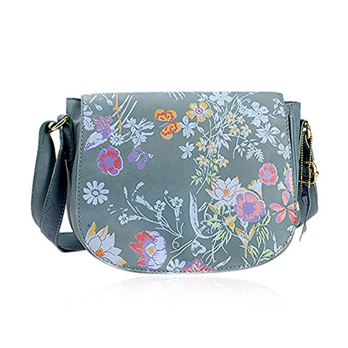 Strap Blocker Pink Colour Bag Leather Teal Adjustable with Floral Shoulder RFID Multi Genuine Sling Pattern and S1Zwn
