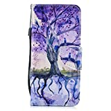 AIIYG DS,Samsung Galaxy S8 Wallet Case,[Card/Cash Slots][Wrist Strap] Design Dual- Use Flip Pattern Premium PU Leather Fold Wallet Cover for Samsung Galaxy S8/Purple Tree