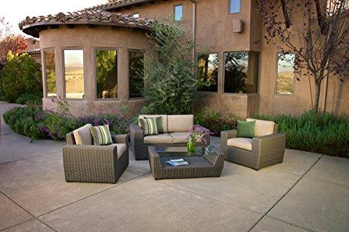 Ace Evert, Chandler 21925 4 Piece Deep Seating Patio Set; SUNBRELLA fabric; All weather wicker (Patio Furniture Chandler)