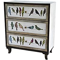 Crestview Wood Chests Birds On A Wire 3 Drawer Painted Chest 31.75 X 37.25 X 16 Inches Multicolored Model # CVFZR1921