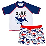 Baby Kids Boys Toddler Two Pieces Short Sleeve Cartoon Animal Quick Dry Sun Protection Swimsuit Swimwear (1-2 Years, Shark)