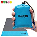 BEARZ Outdoor Beach Blanket, Waterproof Picnic Blanket 55″x60″ - Lightweight Camping Tarp, Compact Pocket Blanket, Festival Gear, Sand Proof Mat for Travel, Hiking, Sports - Packable w/Bag