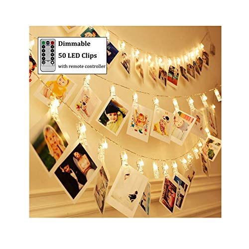 Dimmable 50 LED Photo Clips String Lights